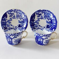 TWO ROYAL CROWN DERBY BLUE MIKADO CUPS AND SAUCERS CHINOISERIE ORIENTAL STYLE