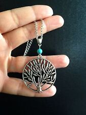 Necklace Extra Long Silver Tree of Life  Big Chunky Boho Hippie Bohemian N1041