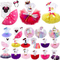 Baby Girls Kids First 1st Birthday Outfit Tutu Tulle Dress Skirt Party Princess