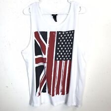 H & M Women's Top Tank Blouse Flag American England White Large