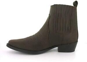 Wrangler Tex Mid Mens Leather Cowboy Boots Dark Brown UK 9