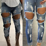 High Waist Slim Skinny Jeans Light Blue Women's Destroyed Denim Pants Trousers
