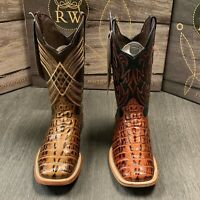MEN'S RODEO COWBOY ALLIGATOR TAIL PRINT WESTERN SQUARE TOE BOOTS DARK COGNAC