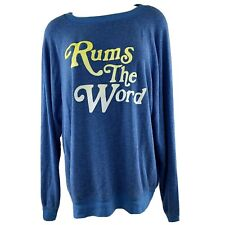 Wildfox Rums the Word Women's Sommers Sweatshirt Super Soft Blue Size Medium New