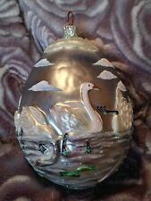 2000 Patricia Breen #2036 Seven Swimming Swans Blown Glass Christmas Ornament
