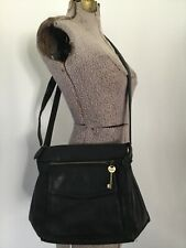 VTG KEY FOSSIL PEBBLED BLACK LEATHER PURSE CROSSBODY BAG ORGANIZER 6 SECT SHOULD