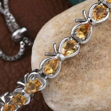 Citrine (Pear) Adjustable Bracelet(Size7.5) in ION Plated Platinum Bond 3.500 ct