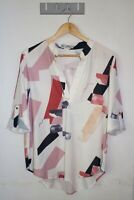 Yours Truly Top Size 12 Multicoloured V-neck Roll Tab Sleeve Abstract Blouse