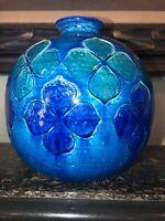 Mid Century Modern Italy Vase Rimini Blue Vintage Ceramic Art Pottery Floral