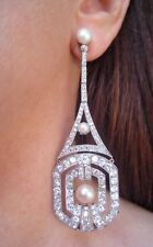 RARE Art Deco Era Long OEC Diamond Earrings 10.53 ct. Appraisal WORK OF ART!