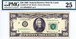 $20 1969 Federal Reserve Note St. Louis  Fr#2067-H*  H00406042*  PMG 25