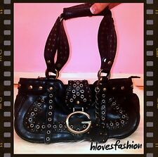 ✨GUESS Black Leather StyleQuality Designer Gold Studded Handbag Gorgeous FAST📮✨