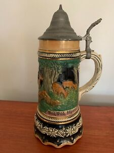 Vintage W.German Beer Stein Weidmannsheil Wald,Wild,Bagerei 684