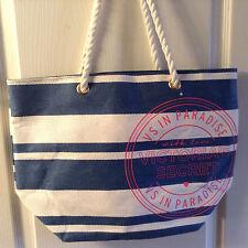 Victorias's Secret  Nautical Tote Purse Bag VS in Paradise Blue-White Striped