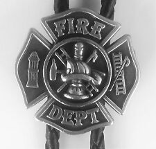 NEW FIRE DEPARTMENT LOGO FIRE FIGHTER MAN SILVER WESTERN COWBOY BOLO TIE   !!