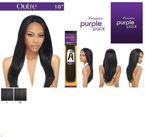 "Outre Premium Purple Pack 100% Human Hair Yaki Weave 10"" Color #1, #1B"
