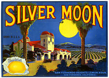 SILVER MOON~CALIFORNIA MISSION~AUTHENTIC FRUIT CRATE LABEL ART~NEW 1983 POSTCARD
