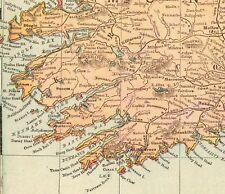 1901 Antique IRELAND MAP Vintage Original Map of Ireland Gallery Wall Art 5375