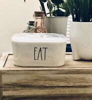 """New"" Rae Dunn by Magenta ""eat"" Food Container Bowl with Vented Lid white"