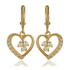 True Love Heart 9K Real Solid Gold Filled CZ Womens Dangle Earrings,Z3886