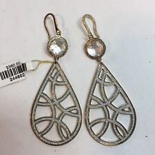 85d9b5d96 New REBECCA italy $360 Rose Gold Crystal Teardrop Earrings NWT Bronze with  Glam
