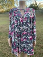 UMGEE Small Boho Floral Babydoll Shift Dress Gray Pink Bell Sleeve Tunic Dress