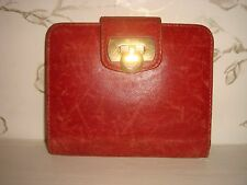 Classic Women's Salvatore Ferragamo Red Leather Wallet Gold Card Holder Italy