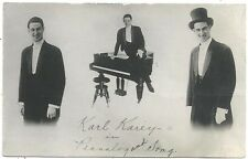Advertising Photo Postcard ~ Karl Karey Piano Player & Singer  c1915