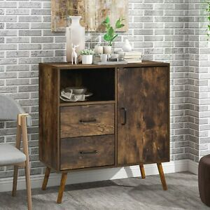 Industrial Sideboard Cabinet with 2 Drawers Storage with 2-Tier Shelf