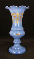 Vintage Art Blue Iris Art Glass Vase Hand Painted Decorative Floral Design