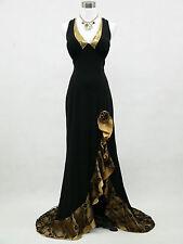 Cherlone Black Backless Long Ballgown Bridesmaid Prom Wedding Evening Dress 12
