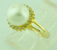 14k Solid Yellow Gold Natural Cultured Pearl & Diamond Ring 8mm pearl