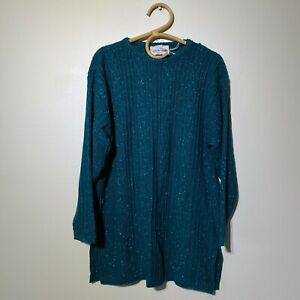 Medium/Large Womans NWT DIANE VON FURSTENBERG Shimmer Teal Tunic Sweater