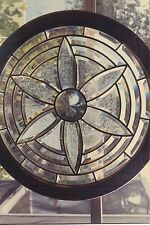 """beveled glass window  22"""" round in oak frame, brass capped lead came,3/8"""" & 1/2"""""""