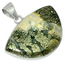Pyrite In Agate 925 Sterling Silver Pendant Jewelry 31054P