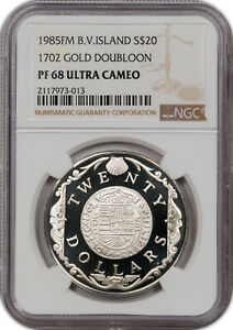 1985-FM B.V. ISLAND 1702 GOLD DOUBLOON S$20 PF68 ULTRA CAMEO ONLY 1 HIGHER GRADE