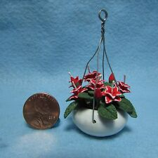 Dollhouse Miniature Hanging Red Flower Arrangement ~ F2031