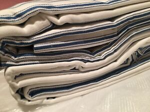 Curtains Blue and White Stripes 100% Cotton Ticking Lined Eyelet W)223 L)229