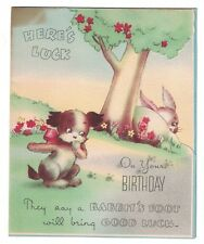 Vintage Birthday Card - Bog and Rabbit  GC