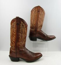 Men's Old West Brown Leather Round Toe Cowboy Western Boots Size: 8.5 D