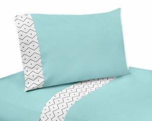 Sweet Jojo Turquoise Gray Green Dinosaur Boy Girl Toddler Size Bedding Sheet Set