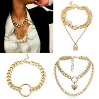 Chunky Gold Necklace Lock Padlock Locket Pendant Coin Curb Chain PUNK Silver
