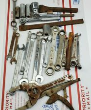 Vintage Lot Of 26 Wreches, Big Sockets, Ratchets, Craftsman, and other brands.