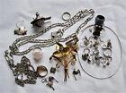 Vintage Sterling Silver Jewelry Scrap Lot 172 grams chain rings single earrings