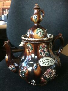 Bargeware Measham Large Teapot 1891 A Present from Stanley Victorian ceramic