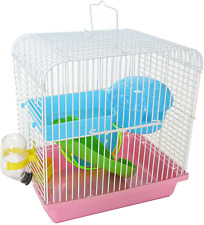 New listing Yml Dwarf Hamster Mice Travel Cage with Accessories, Pink