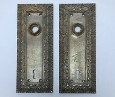 Antique PAIR SILVER-PLATED BRONZE DOOR PLATES BACKPLATES 19th Century