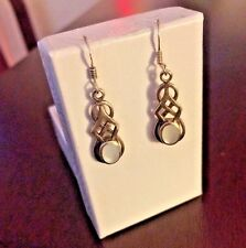Vintage 1920's Sterling Silver Celtic Mother of Pearl Dangle Earrings
