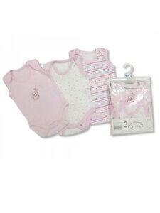 NURSERY TIME 3 PACK PINK COTTON SLEEVELESS VEST BABY BODYSUIT 100% Cotton
