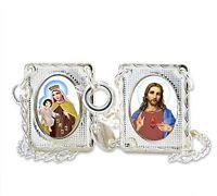 Catholic Scapular Lady Mt. Carmel Sacred Heart Jesus Chain Necklace,Silver Tone